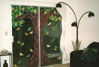 Big Tree  - Tempera Paint on Glass... I just got tired of looking at my back fence :)